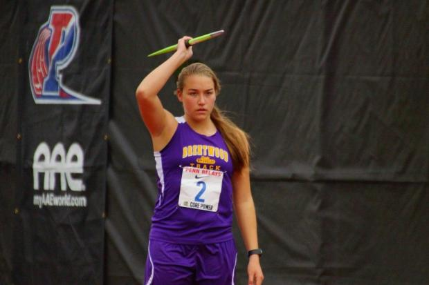 Sophia Rivera of Brentwood, Mo. won The Penn Relays Carnival in the javelin, throwing U.S. No. 5 All-Time heave of 175-10.