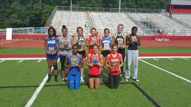 The medal recipients at the Arkansas State Heptathlon and Decathlon Championships.