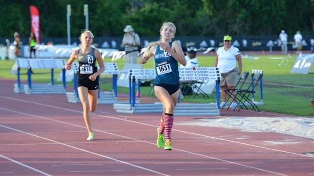 Rachel McArthur of Patriot, Va. ran a 62-second final lap to win the mile in 4:48 for the last adidas Dream Mile auto qualifier over Lauren Gregory of Fort Collins, Co.