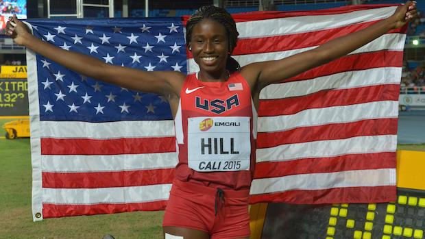 Candace Hill became the second female to sweep the 100 and 200 meter dashes at the World Youth Championships in record times of 11.08 and 22.43.