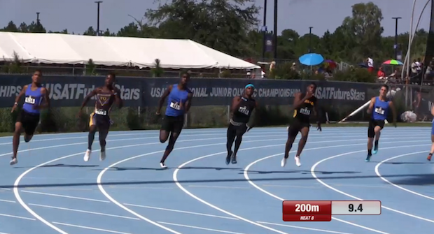 national record in 200m prelims usatf junior olympics day 1
