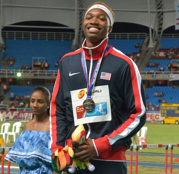 Josephus Lyles on the medal stand after winning silver in the 400m with a new personal best of 45.46.
