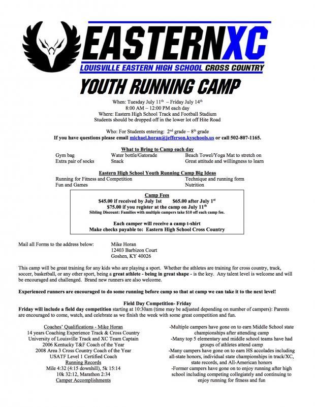 Eastern High School Hosting Youth Running Camp