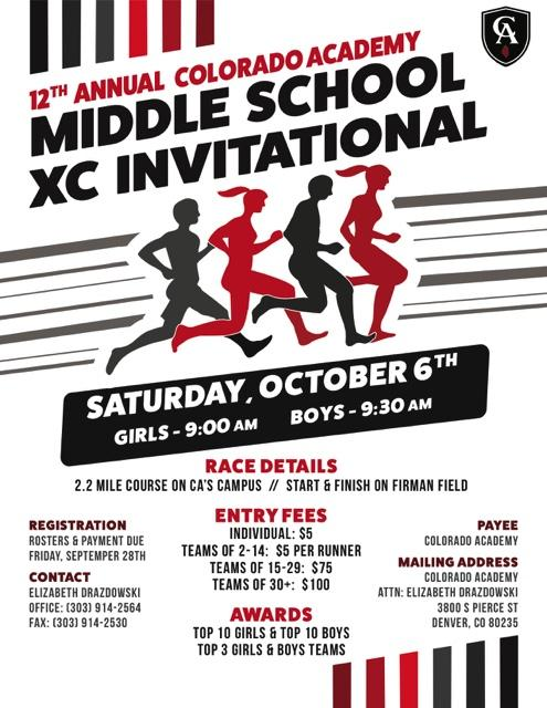 colorado academy middle school xc invitational meet information